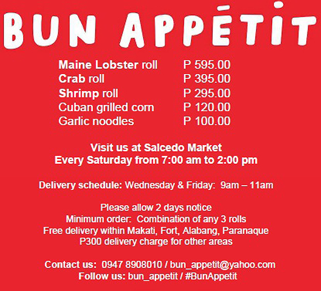 Bun Appetit Menu - As of 050215